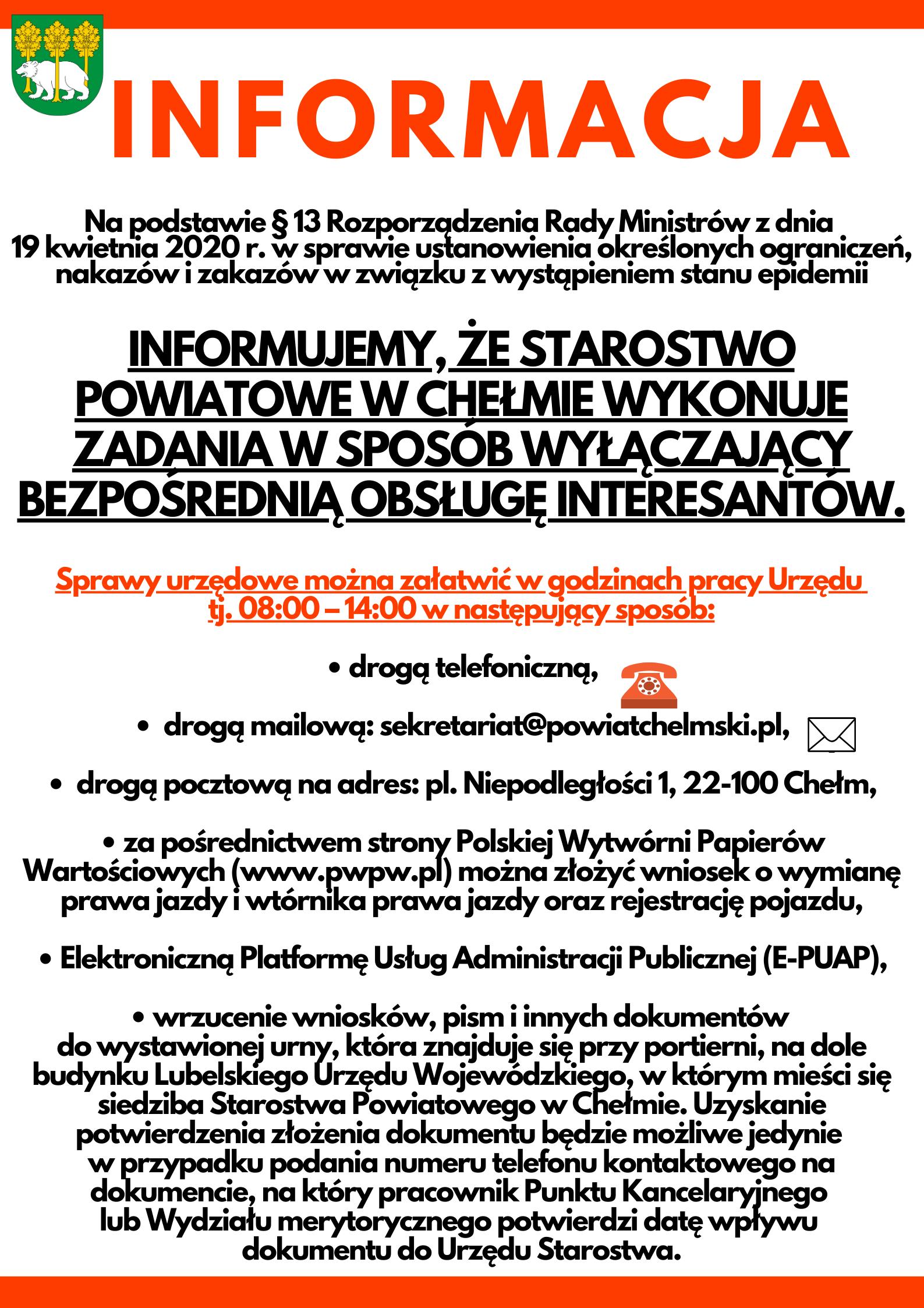 Plakat informacja o pracy Starostwa Powiatowego