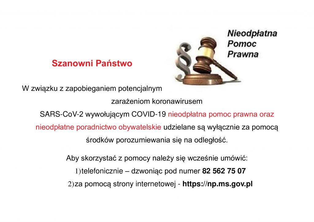 plakat dotyczący nieodpłatnej pomocy prawnej imłotecze kdrewniany zpodstawką