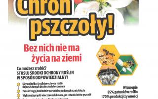 Plakat cgroń pszczoły oraz zdjęcie pszczół