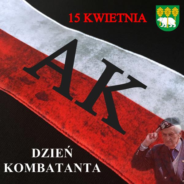 plakat 15 kwietnia dzień kombatanta, herb powiatu iopaska biało-czerwona AK