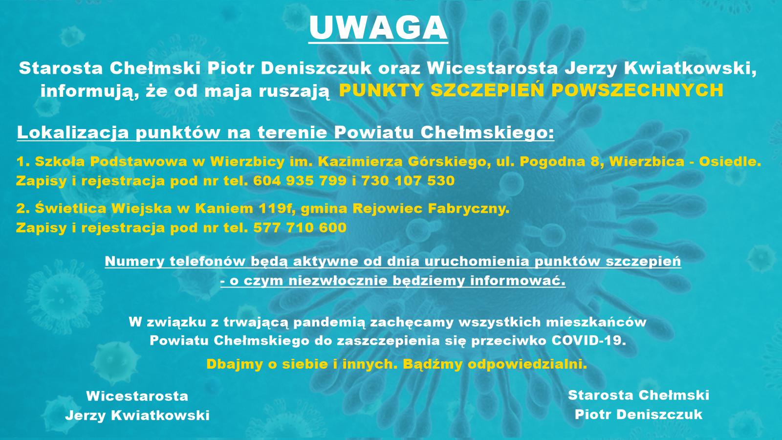 plakat zinformacjami oPunktach Szczepień Powszechnych itło niebieskie zezdjęciem koronawirusa