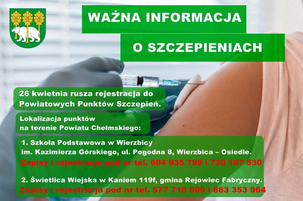 Plakat Powiatowe Punkty Szczepień wPowiecie Chełmskim, herb powiatu chełmskiego orazzdjęcie osoby przyjmującej szczepionkę