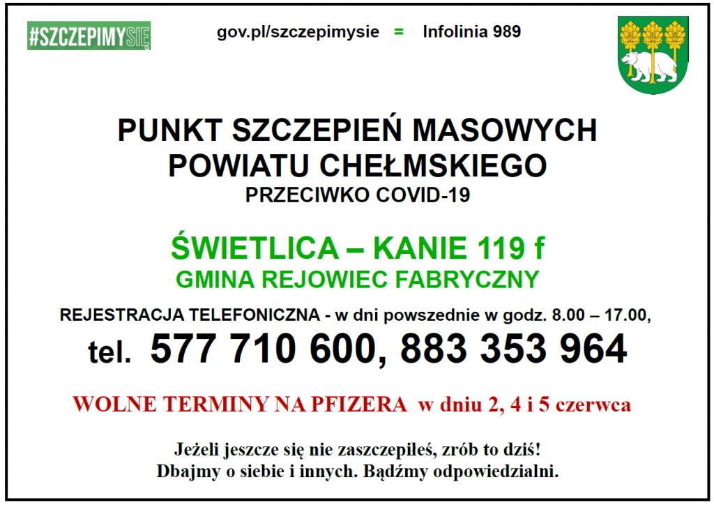 Plakat naszczepienia przeciwko COVID-19 wMasowych Punktach Szczepień Powiatu Chełmskiego