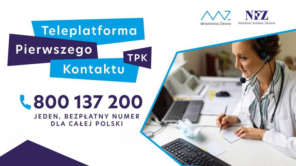 Plakat Teleplatforma Pierwszego Kontaktu numer telefonu 800 137 200 bezpłatny