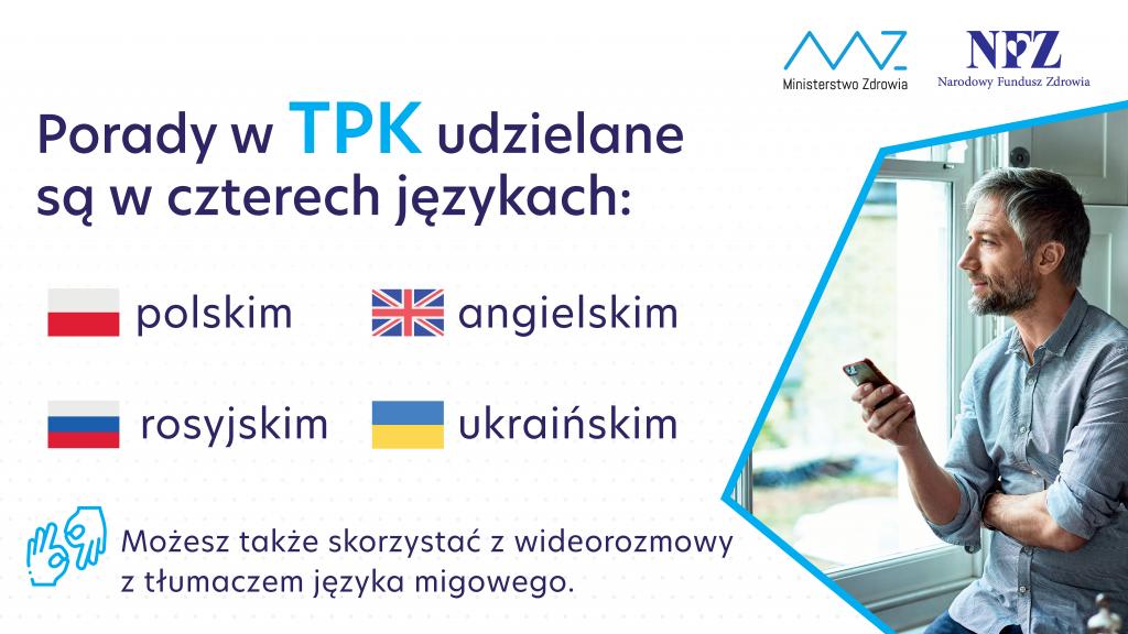 Plakat Teleplatforma Pierwszego Kontaktu znapisem możesz także skorzystać zwideorozmowy ztłumaczem języka migowego