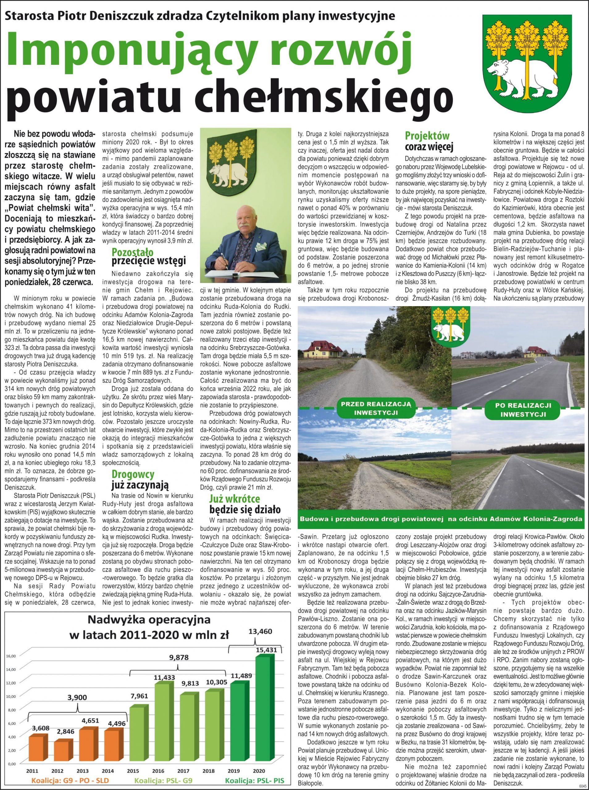 Artykuł - inwestycje powiatu chełmskiego