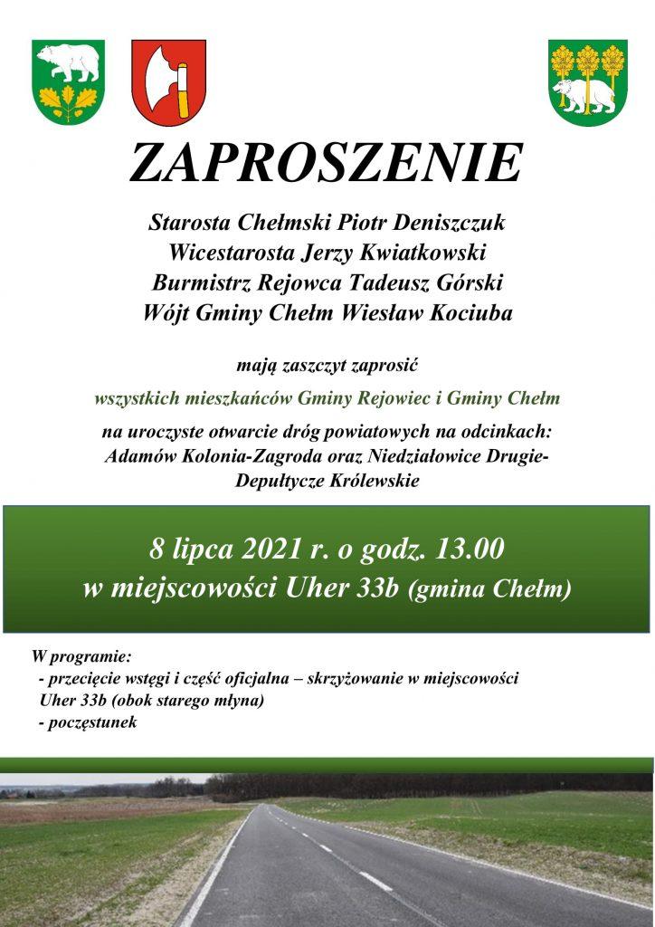 Plakat - zaproszenie naotwarcie drogi powiatowej