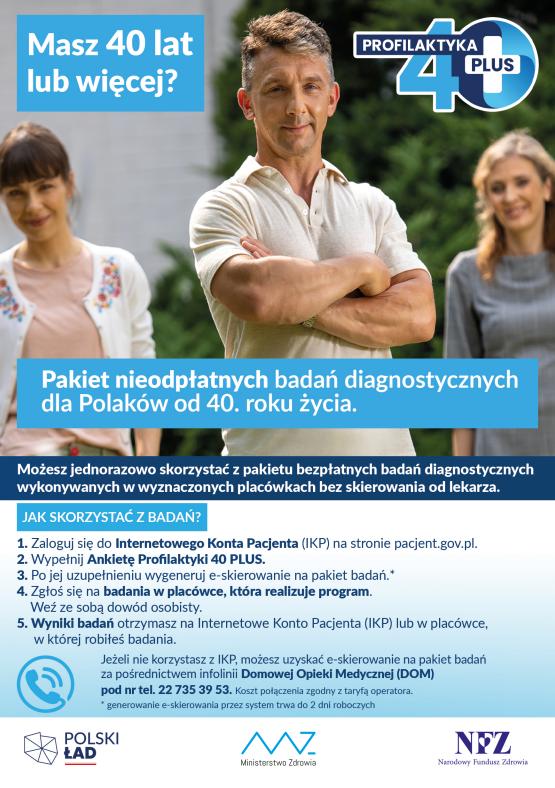 plakat dotyczący profilaktyki 40 plus