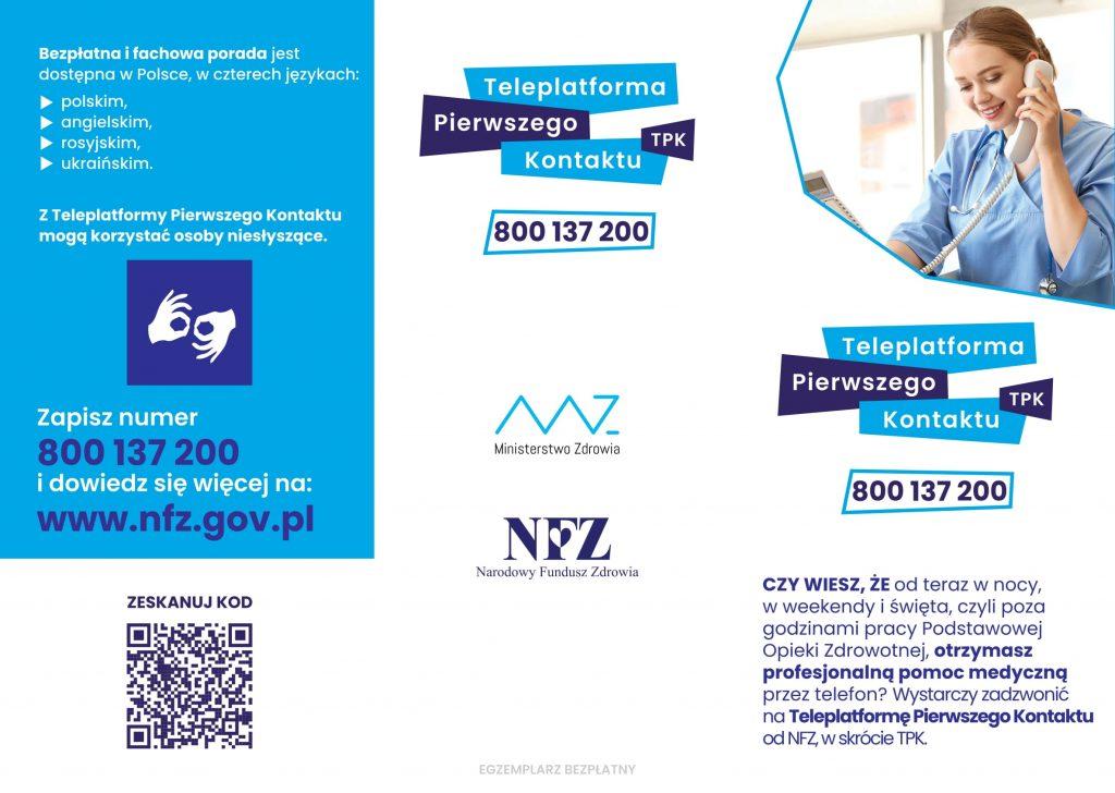 Plakat - Ulotka Teleplatforma Pierwszego Kontaktu