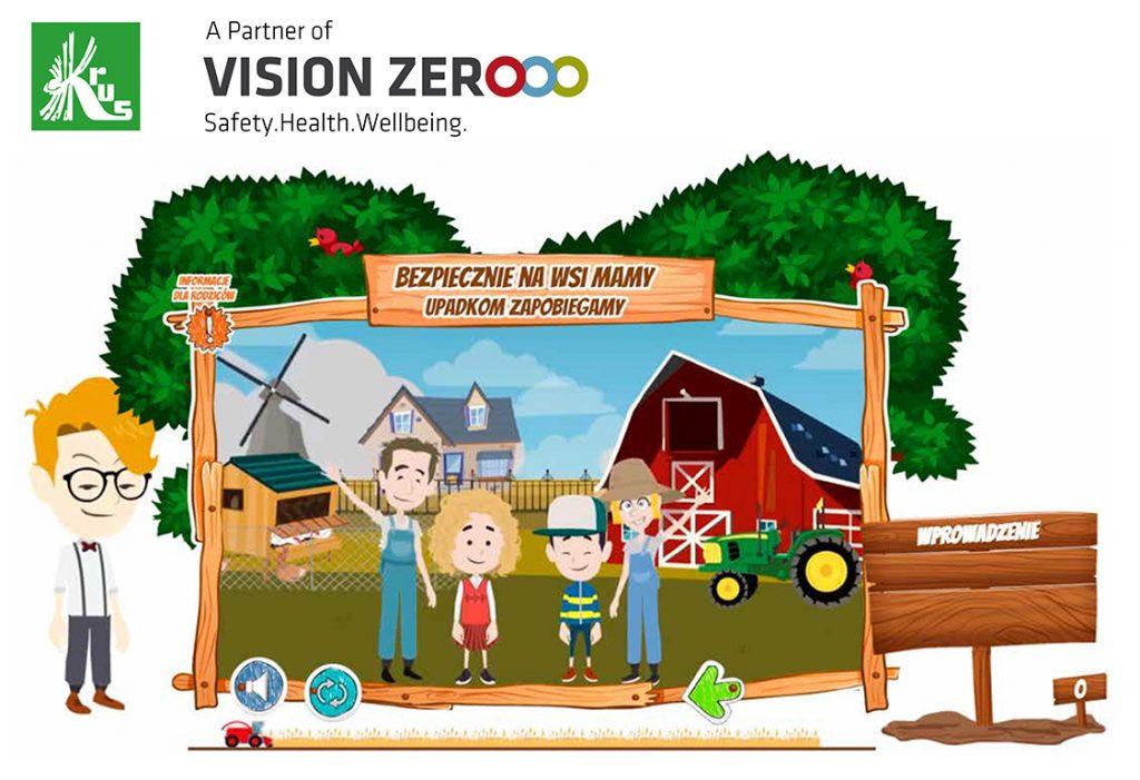 plakat kursu dla dzieci przedstawiający dzieci orazdorosłych znajdujących się nawsi, wtle jest czerwony budynek orazzielono zółty traktor orazkurnik, dom iwiatrak