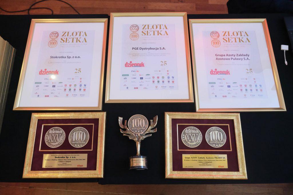 zdjęcie przedstawia dyplomy najlepszych firm złotej setki wzłotych ramach orazpuchar imedale