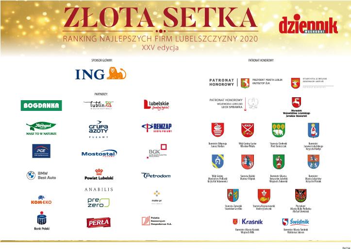 Zdjęcie przedstawia ranking najlepszych firm lubelszczyzny 2020 złota setka naktórymznajdują się logotypy sposorów orazpartnerów honorowych wydarzenia