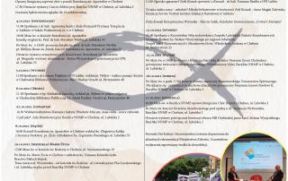 plakat XVIII Dni Kultury Chrześcijańskiej na którym widoczny jest program wydarzenia oraz zdjęcia kościoła