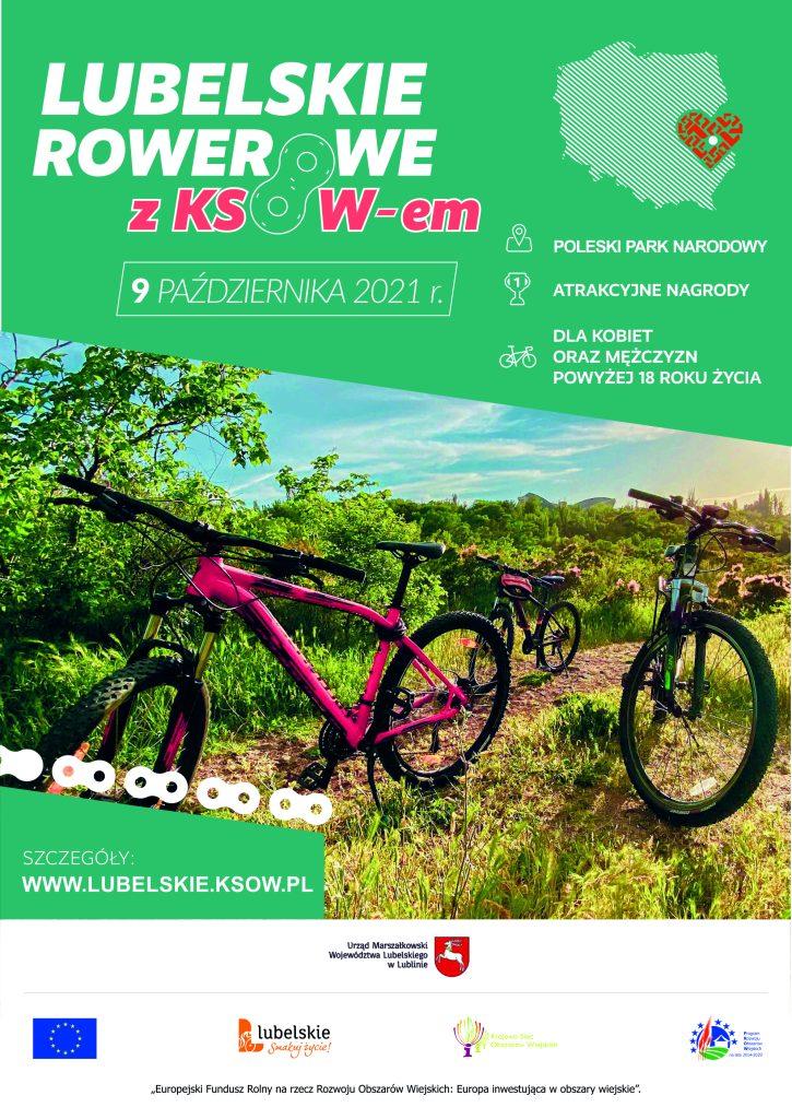 plakat lubelskiego rajdu rowerowego, naktórymznajdują się dwa rowery natle zielonych obszarów, mapa Polski orazinformacje odnośnie wydarzenia iorganizatorów