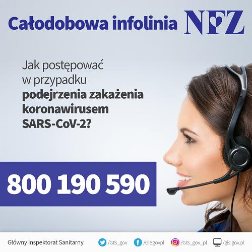 Plakat informujący ocałodobowej infolinii NFZ