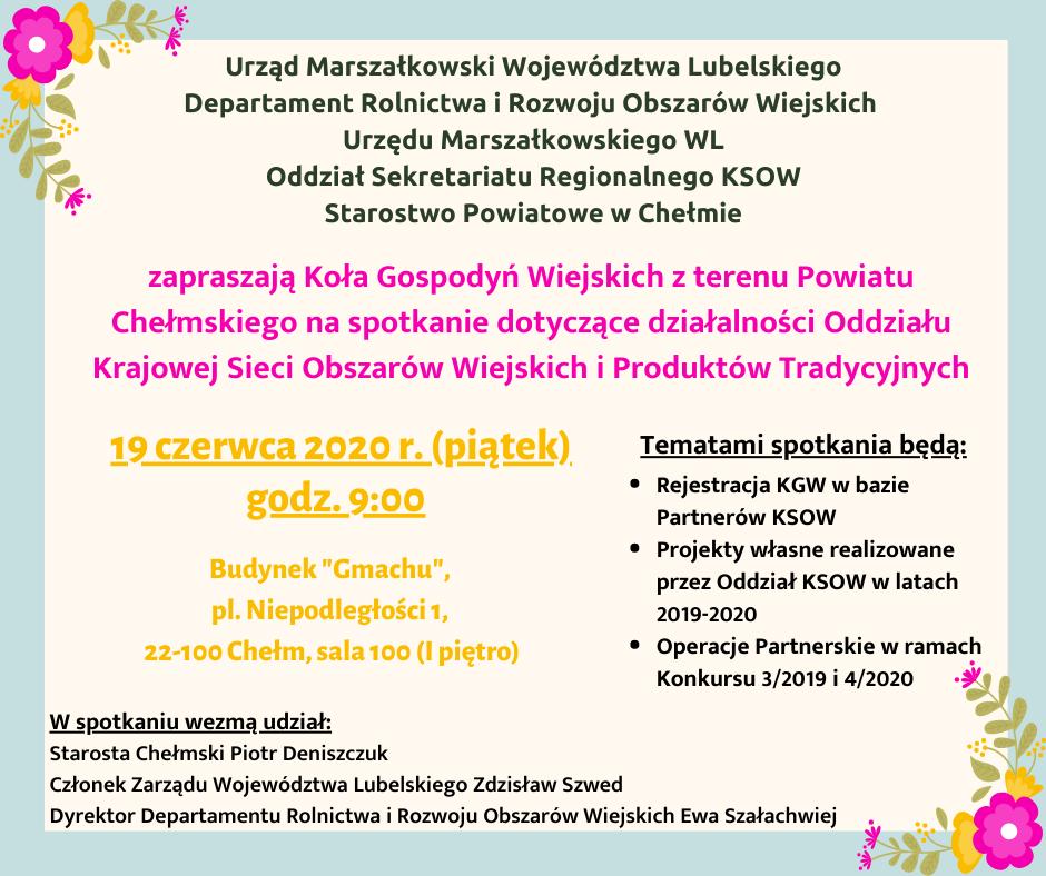 Zaproszenie dla przedstawicieli Kół Gospodyń Wiejskich z terenu Powiatu Chełmskiego