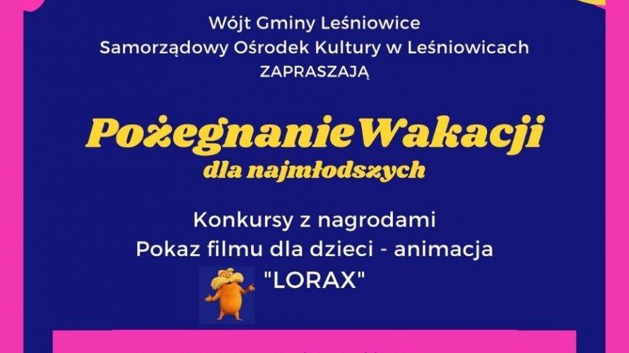 Zaproszenie naseans filmowy dla dzieci doGminy Leśniowice