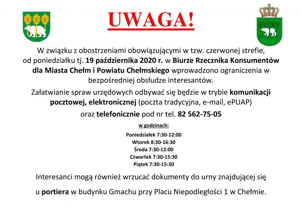 Informacja dotycząca pracy Rzecznika Konsumentów dla Powiatu Chełmskiego IMiasta Chełm