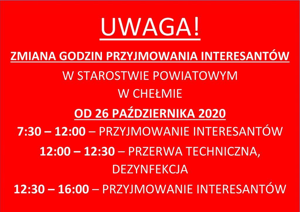 Komunikat dotyczący zmiany godzin przyjmowania interesantów wStarostwie Powiatowym wChełmie
