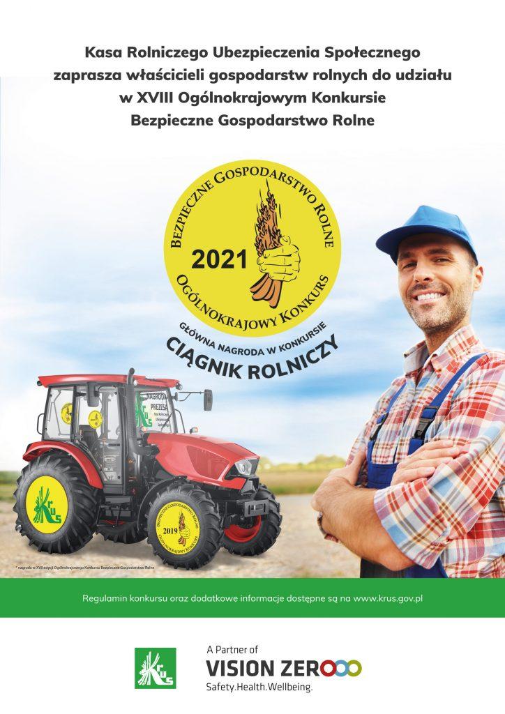 Plakat promujący konkurs Bezpieczne Gospodarstwo Rolne
