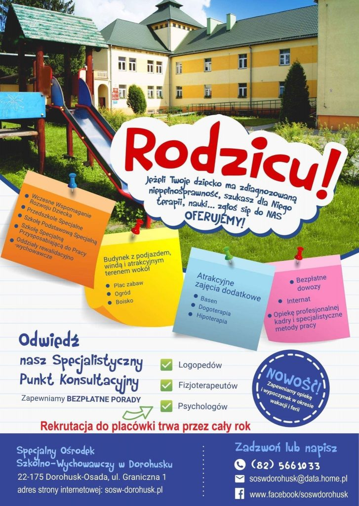 Plakat dotyczący rekrutacji doSpecjalnego Ośrodka Szkolno-Wychowawczego wDorohusku