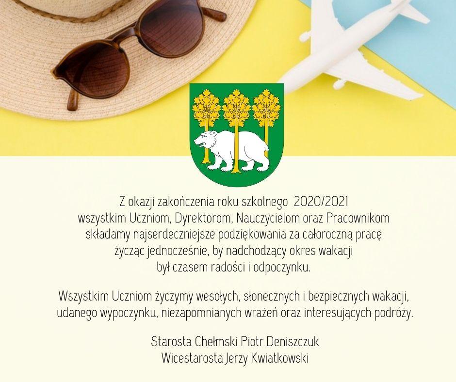 Plakat zżyczeniami wtle obraz kapelusza, okularów orazsamolotu