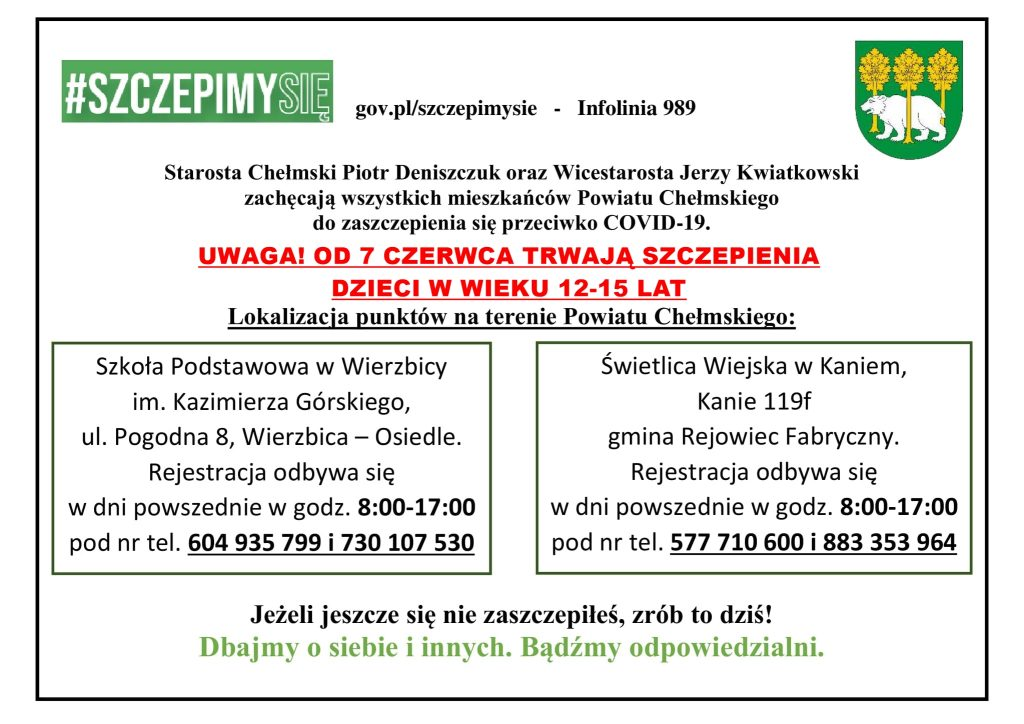 Plakat - Sczepienia dzieci - powiat chełmski, herb powiatu chełmskiego, hasztag szczepimy się