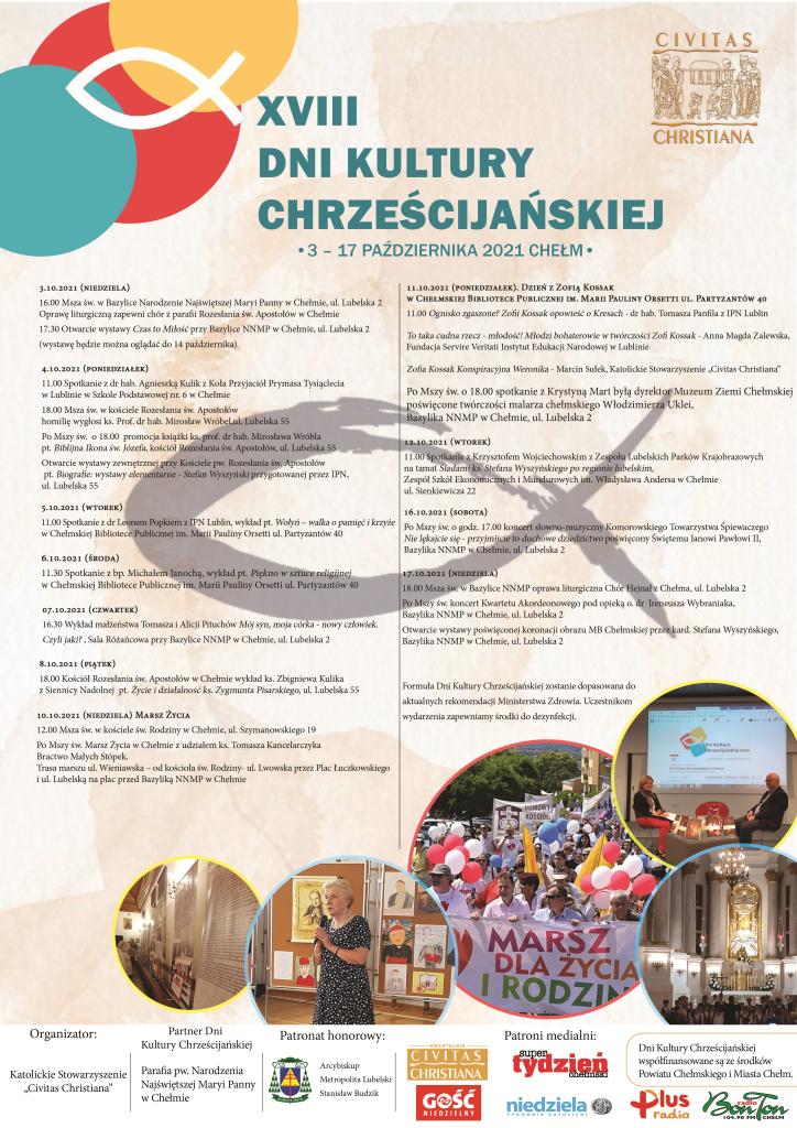 plakat dni kultury chrześcijańskiej zprogramem wydarzenia orazzdjęciami kościoła izgromadzeń ludzi
