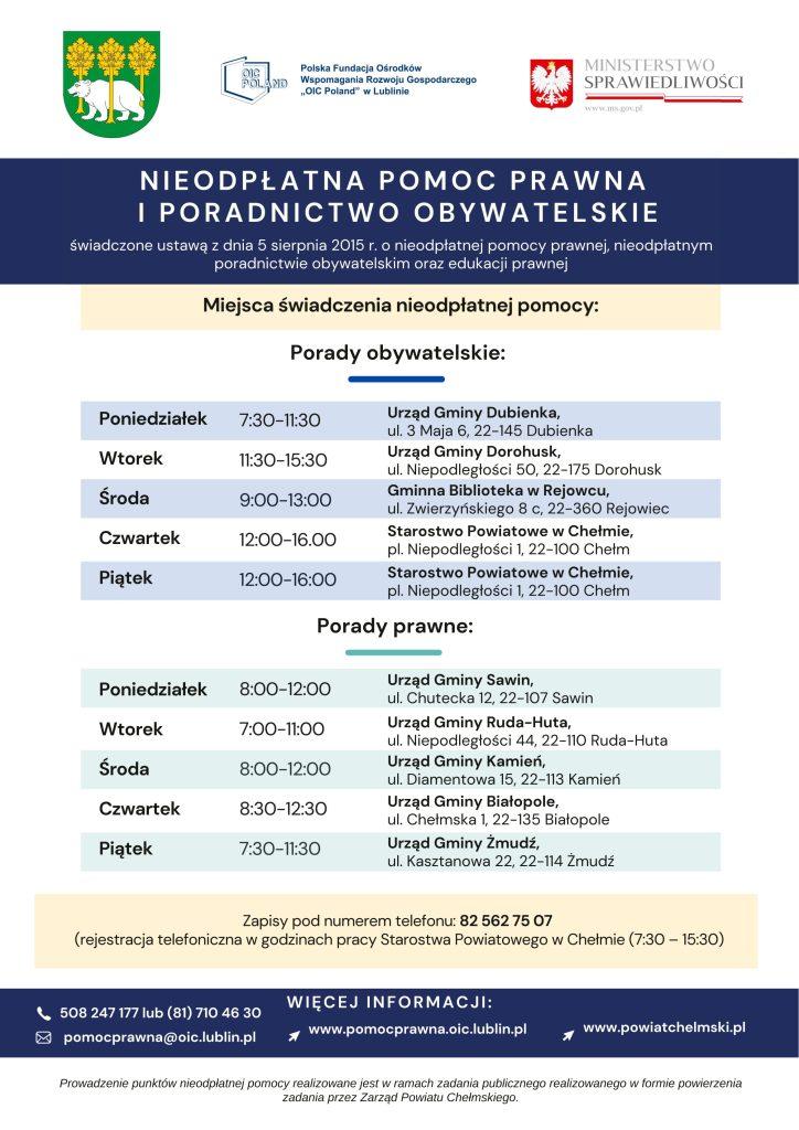 Plakat - Powiat Chełmski nieodpłatna Pomoc Prawna